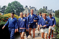 (L-R) England's Johnny Byrne, George Eastham, Gerry Byrne, Ron Springett, Jack Charlton, Norman Hunter, Roger Hunt, Alan Ball and Ian Callaghan walk out for a training session