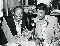 1978 Radio commentator/interviewer Gregg Hunter seen interviewing Bobby Short during his KIEV radio show at the Brown Derby Restaurant on Vine St. in Hollywood.