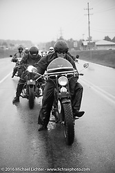 Mike Carson riding his 1924 Harley-Davidson JE in the rain during Stage 6 of the Motorcycle Cannonball Cross-Country Endurance Run, which on this day ran from Cape Girardeau to Sedalia, MO., USA. Wednesday, September 10, 2014.  Photography ©2014 Michael Lichter.