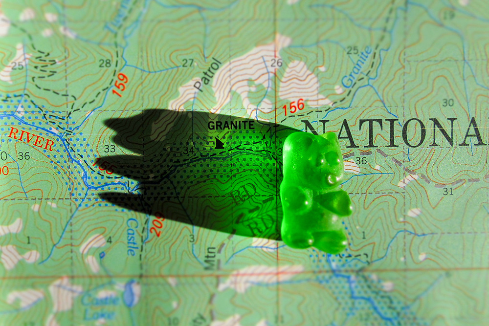 Gummy bear on topo map