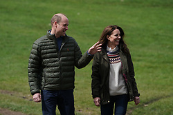 The Duke and Duchess of Cambridge walk together during their visit to Manor Farm in Little Stainton, Durham. Picture date: Tuesday April 27, 2021.