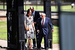 Duchess of Cambridge with survivor Manfred Goldberg and the Duke of Cambridge with survivor Zigi Shipper during a visit the former Nazi Germany Concentration Camp, Stutthof, on the second day of their five-day tour of Poland and Germany.