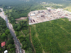 An iron ore processing plant being built next to the Guapinol river, Colon, Honduras.