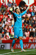 Stoke City Goalkeeper Jack Butland shouts instructions. Barclays Premier League match, Stoke city v West Bromwich Albion at the Britannia stadium in Stoke on Trent, Staffs on Saturday 29th August 2015.<br /> pic by Chris Stading, Andrew Orchard sports photography.