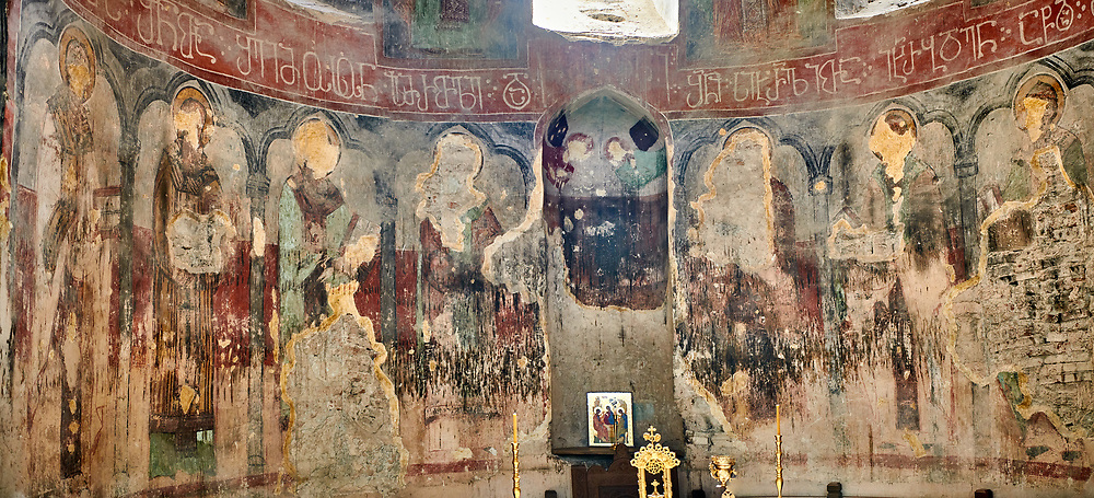 """picture & image of  the altar apse frescoes of the Samtavisi Georgian Orthodox Cathedral, 17th century, Shida Karti Region, Georgia (country)<br /> <br /> Built during the so called 10-11th century """"Georgian Golden Era"""" Samtavisi cathedral is a built in classical Georgian style of the period. Layout on a cruciform ground plan with a high central cylindrical central cupola. .<br /> <br /> Visit our MEDIEVAL PHOTO COLLECTIONS for more   photos  to download or buy as prints https://funkystock.photoshelter.com/gallery-collection/Medieval-Middle-Ages-Historic-Places-Arcaeological-Sites-Pictures-Images-of/C0000B5ZA54_WD0s<br /> <br /> Visit our REPUBLIC of GEORGIA HISTORIC PLACES PHOTO COLLECTIONS for more photos to browse, download or buy as wall art prints https://funkystock.photoshelter.com/gallery-collection/Pictures-Images-of-Georgia-Country-Historic-Landmark-Places-Museum-Antiquities/C0000c1oD9eVkh9c"""