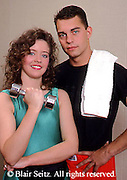 Health Spa, Nautilus Exercise, Fitness Club, PA Young Adult Couple Pose During Exercise Routine