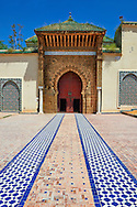 Entrance to the mauseleum of Moulay Ismaïl Ibn Sharif , reigned 1672–1727. A UNESCO World Heritage Site .Meknes, Meknes-Tafilalet, Morocco. .<br /> <br /> Visit our MOROCCO HISTORIC PLAXES PHOTO COLLECTIONS for more   photos  to download or buy as prints https://funkystock.photoshelter.com/gallery-collection/Morocco-Pictures-Photos-and-Images/C0000ds6t1_cvhPo<br /> .<br /> <br /> Visit our ISLAMIC HISTORICAL PLACES PHOTO COLLECTIONS for more photos to download or buy as wall art prints https://funkystock.photoshelter.com/gallery-collection/Islam-Islamic-Historic-Places-Architecture-Pictures-Images-of/C0000n7SGOHt9XWI