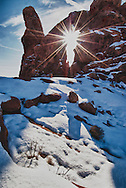 Turret Arch, La Sal Mountains, Arches National Park, Utah, winter, sunset.