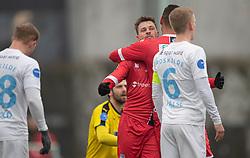 Nicolas Mortensen (FC Helsingør) jubler efter scoringen til 0-1 under træningskampen mellem FC Roskilde og FC Helsingør den 15. februar 2020 i Roskilde Idrætspark (Foto: Claus Birch).