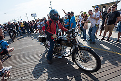 Byrne Bramwell of Ontario, Canada riding his 1913 Henderson leaves the start of the Motorcycle Cannonball Race of the Century. Stage-1 from Atlantic City, NJ to York, PA. USA. Saturday September 10, 2016. Photography ©2016 Michael Lichter.