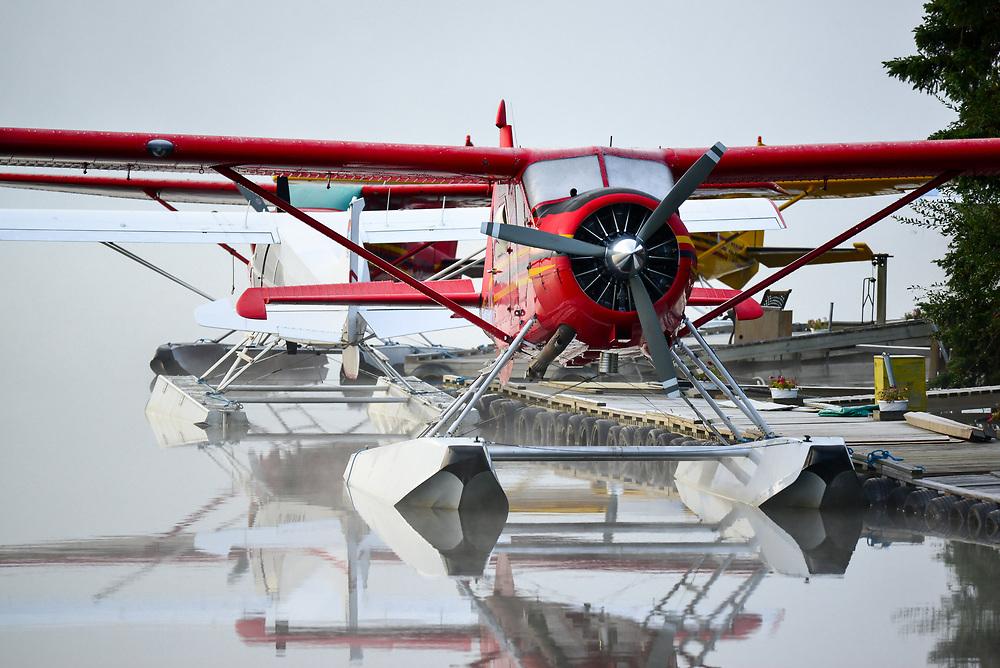 A De Havilland DHC-2 waits on a misty morningfor the next flight at Schwatka Lake, Yukon.