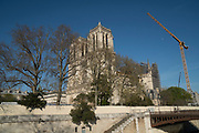 "April, 4th 2020 - Paris, Ile-de-France, France: Notre Dame empty scene, during the twelfth day of near total lockdown imposed in France. A week after President of France, Emmanuel Macron, said the citizens must stay at home for at least 15 days, that has been extended. He said ""We are at war, a public health war, certainly but we are at war, against an invisible and elusive enemy"". All journeys outside the home unless justified for essential professional or health reasons are outlawed. Anyone flouting the new regulations is fined. Nigel Dickinson"
