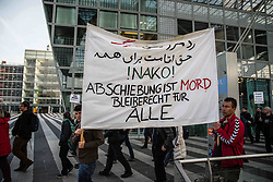 """April 24, 2017 - MüNchen-Flughafen, Bayern, Germany - The fifth deportation flight of approximately 100 Afghan refugees took off from the Munich International Airport amid a protest in the terminal by approximately 105 demonstrators .  In 2016, the interior ministry of Germany declared Afghanistan """"a safe country of origin"""", despite terror attacks and deaths due to violence and attacks spiking for the year.  Speakers included Margarete Bause, a parliamentarian with the Green Party, Matthias Wenzerl and Stephan Duennwald of the Bayerischer Fluechtlingsrat (Bavarian Refugee Council)..Furthermore, the German consulate in Mazar-i-Sharif of the Balkh Province was stormed by Taliban fighters and heavily damaged by a car bombing in Nov. 10, 2016.  Germany has specifically named this region as """"safe"""".  On 21 April 2017, a planned attack by the Taliban killed over 100 people at Camp Shaheen, the Afghan Army base in Mazar-i-Sharif.  To domestic and international ridicule the German government's Auswaeriges Amt (external office) issued a travel warning against Afghanistan due to security concerns.  Several states in Germany have stopped deportations to Afghanistan on the grounds of questionable safety in the country.  Among deportees were actors, artists, and the persecuted Afghan Hindus.  An Afghan Jew, Mobin N. is currently in Synagogue-Asylum, as he was set to be deported on Feb 23.  These two cases illustrate that Germany is not evaluating the refugee process on a case by case basis, as is required by international laws..The first two deportations were from Frankfurt, with the last three from Munich, following the sharpening of the CSU's asylum politics and fast-tracking of deportations.  It has been alleged, that there were irregularities in the behavior from BAMF (Bundesamt fuer Migration und Fluechtlinge), such as organizing appointments for refugees during which they were arrested and set for deportation without being allowed ap"""