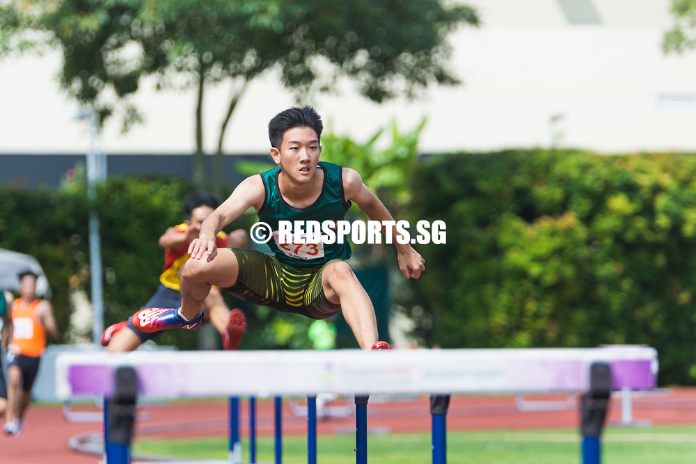 Matz Chan (#273) of Raffles Institution in action as he jumps over the hurdle. (Photo © Jerald Ang/Red Sports)