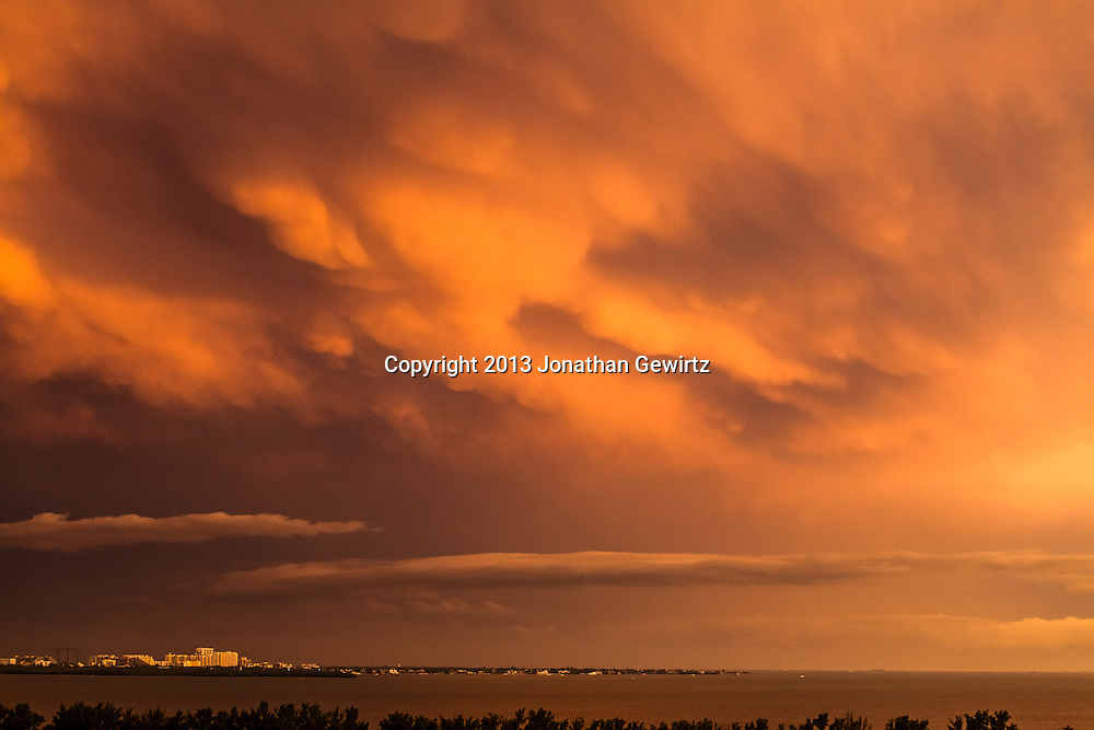 Dramatic late-afternoon storm clouds over Key Biscayne, Florida. WATERMARKS WILL NOT APPEAR ON PRINTS OR LICENSED IMAGES.