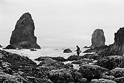 9722-05.  fisherman at the Needles, Cannon Beach, Oregon, about 1951