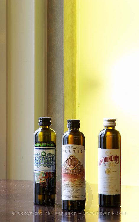 Miniature bottles of Absenthe absinth Pastis and RinQuinQuin three different aperitifs