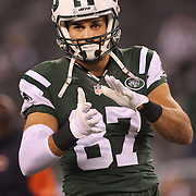 Eric Decker, New York Jets, during warm up before the New York Jets Vs Chicago Bears, NFL regular season game at MetLife Stadium, East Rutherford, NJ, USA. 22nd September 2014. Photo Tim Clayton for the New York Times