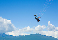 """Kite surfer catching some air on the Howe Sound near """"The Spit"""" in Squamish, BC, Canada"""