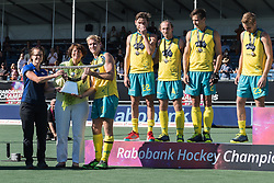 captain Aran Zalewski of Australia gets the Champions Trophy during the Champions Trophy finale between the Australia and India on the fields of BH&BC Breda on Juli 1, 2018 in Breda, the Netherlands.