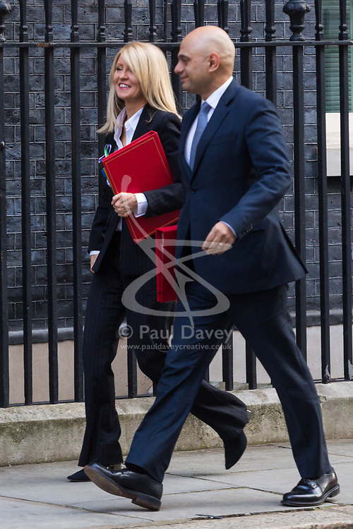 Secretary of State for Work and Pensions Esther McVey and Secretary of State for Housing, Communities and Local Government Sajid Javid arrive at 10 Downing Street in London to attend the weekly meeting of the UK cabinet - London. February 06 2018.