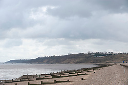 © Licensed to London News Pictures. 28/02/2019. Sheerness-on-Sea, A cloudy view along the seafront. Coats on as people say goodbye to the heatwave and hello to Cooler and cloudier weather today at Sheerness-on-sea at the Kent coast.  Photo credit: Grant Falvey/LNP