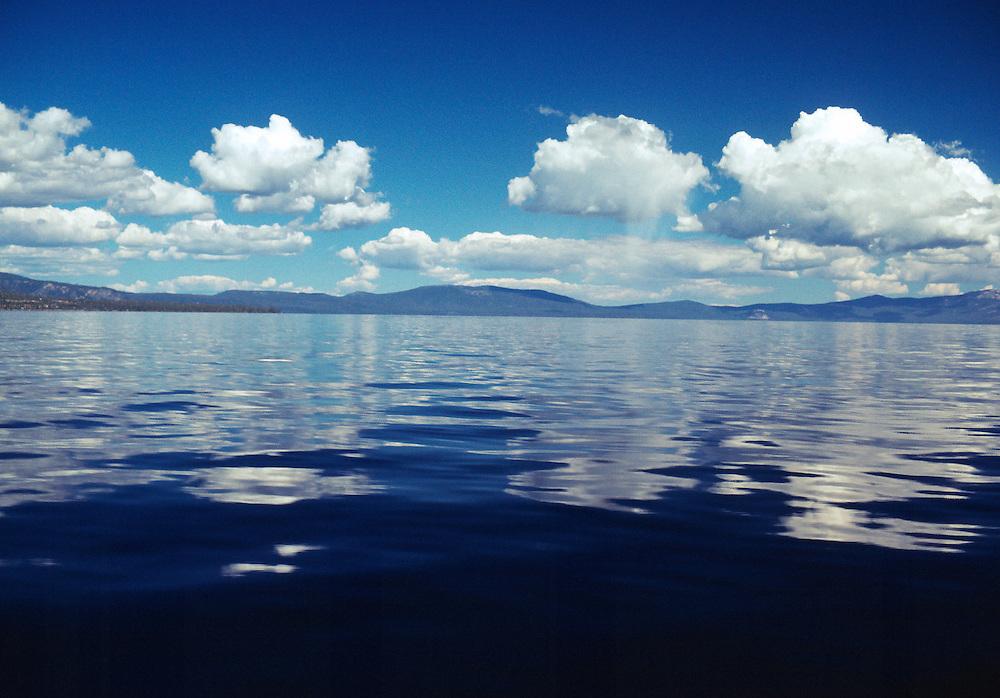 Lake Tahoe Landscape, Reflecting Clouds Lake Tahoe