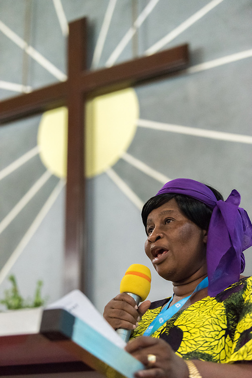 31 October 2019, Monrovia, Liberia: Mariama Brown speaks as the Lutheran World Federation launches an SDG mapping for Liberia in Saint Peter Lutheran Church. The event takes place during the annual global meeting of the Waking the Giant initiative of the Lutheran World Federation.