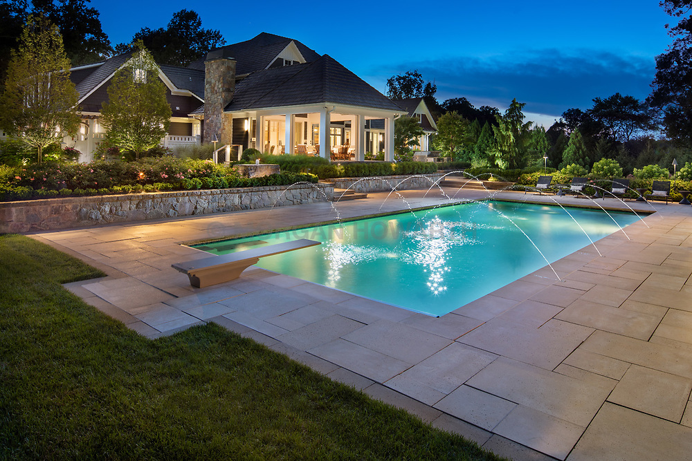 2977_Wison Exterior landscaping with pool and twilight