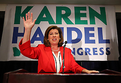 June 20, 2017 - Atlanta, GA, USA - Republican candidate Karen Handel makes an early appearance to thank her supporters after the first returns come in during her election night party in the 6th District race with Democrat Jon Ossoff on Tuesday, June 20, 2017, in Atlanta. (Credit Image: © Curtis Compton/TNS via ZUMA Wire)