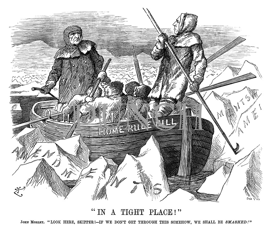 """""""In a Tight Place!"""" John Morley. """"Look here, skipper!—If we don't get through this somehow, we shall be smashed!"""""""