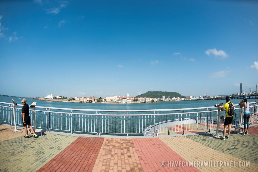 The new but controversial Cinta Costera III (Coastal Beltway) that runs around Casco Viejo on the waterfront of Panama City, Panama, on Panama Bay.