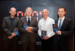 """Mattias Grafstrom of UEFA, Theo van Seggelen of FIFPro, Dr. Andy Harvey of Birkbeck Univeristy and Georg Pangl of EPFL during FIFPro """"Don't Fix it"""" Project Concluding Conference on June 3, 2014 in Grand Hotel Union, Ljubljana, Slovenia. Photo by Vid Ponikvar / Sportida"""