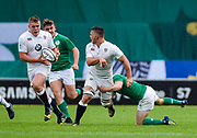 England flanker Will Evans feeds the ball to England prop Billy Walker  during the World Rugby U20 Championship Final   match England U20 -V- Ireland U20 at The AJ Bell Stadium, Salford, Greater Manchester, England onSaturday, June 25, 2016. (Steve Flynn/Image of Sport)