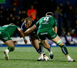 Dimitri Arhip of Cardiff Blues under pressure from James Cannon of Connacht<br /> <br /> Photographer Simon King/Replay Images<br /> <br /> Guinness PRO14 Round 14 - Cardiff Blues v Connacht - Saturday 26th January 2019 - Cardiff Arms Park - Cardiff<br /> <br /> World Copyright © Replay Images . All rights reserved. info@replayimages.co.uk - http://replayimages.co.uk