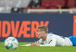 Arnór Sigurdsson (Island) under kampen i Nations League mellem Danmark og Island den 15. november 2020 i Parken, København (Foto: Claus Birch).