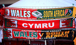 Scarves for sale ahead of the Autumn International match at the Principality Stadium, Cardiff.