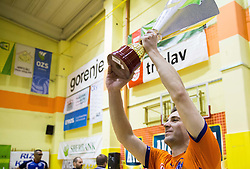 Andrej Flajs of ACH celebrates with a trophy after winning during volleyball match between ACH Volley   and Salonit Anhovo in Final of Slovenian Cup 2014/15, on January 17, 2015 in Sempeter, Slovenia. Photo by Vid Ponikvar / Sportida