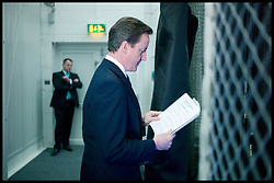 The Prime Minister David Cameron going through his speech back stage at the Conservative Party Spring Forum in Cardiff, Sunday March 6, 2011. Photo By Andrew Parsons / i-Images.