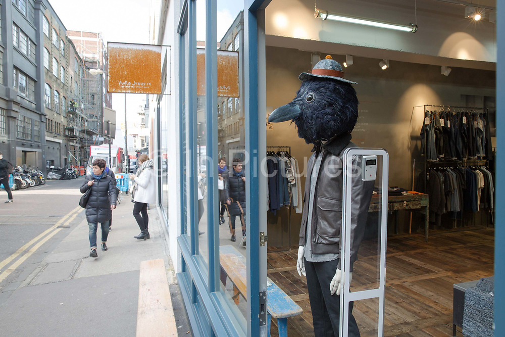 Cutting edge fashion window displays along Redchurch Street on 14th October 2015 in London, United Kingdom. Nestled between Brick Lane and Shoreditch High Street, Redchurch street is a trendy backstreet in the heart of East London