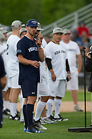 KELOWNA, CANADA - JUNE 28: NHL Dallas Stars player Blake Comeau address the audience during the opening charity game of the Home Base Slo-Pitch Tournament fundraiser for the Kelowna General Hospital Foundation JoeAnna's House on June 28, 2019 at Elk's Stadium in Kelowna, British Columbia, Canada.  (Photo by Marissa Baecker/Shoot the Breeze)