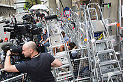 London, UK. Saturday 20th July 2013. The press pen opposite the Lindo Wing of St Mary's Hospital, where Kate Middleton, Duchess of Cambridge is due to give birth. Each global media organisation has marked out a small space to shoot their coverage from, with some media being in position for up to two weeks prior to the expectant birth of the Royal baby.