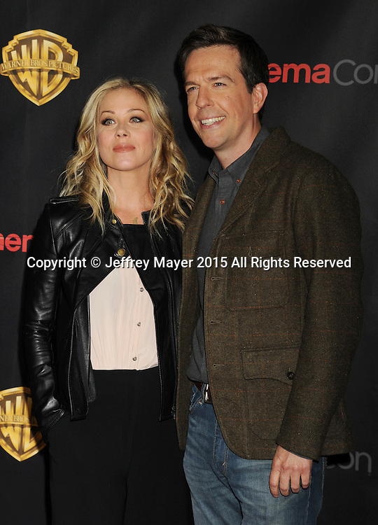 LAS VEGAS, CA - APRIL 21: Actors Christina Applegate (L) and Ed Helms arrive at Warner Bros. Pictures Invites You to ?The Big Picture at The Colosseum at Caesars Palace during CinemaCon, the official convention of the National Association of Theatre Owners, on April 21, 2015 in Las Vegas, Nevada.