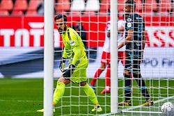 No chance for goalkeeper Kostas Lamprou of RKC Waalwijk if Gyrano Kerk of FC Utrecht scores 2-1 during eredivisie round 03 between FC Utrecht and RKC at Nieuw Galgenwaard stadium on September 27, 2020 in Utrecht, Netherlands