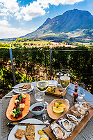 A sumptuous lunch at the restaurant at Delaire Graff Wine Estate atop Helshoogte Pass, near Stellenbosch, Cape Winelands (near Cape Town), South Africa.