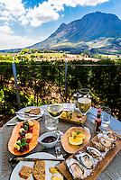 A sumptuous lunch at the restaurant at Delaire Graff Wine Estate atop Helshoogte Pass, near Stellenbosch, Cape Winelands (near Cape Town), South Africa.