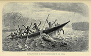 Boat capsized by a Hippopotamus robbed of her Young From book ' Missionary travels and researches in South Africa : including a sketch of sixteen years' residence in the interior of Africa, and a journey from the Cape of Good Hope to Loanda, on the west coast, thence across the continent, down the river Zambesi, to the eastern ocean ' by David Livingstone Published in London in 1857
