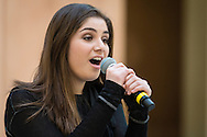 """Town of Wallkill, New York -  A Port Jervis High School student sings a song from """"Into the Woods"""" during the Orange County Arts Council's All-County High School Musical Showcase and Arts Display at the Galleria at Crystal Run on Feb. 27, 2016."""