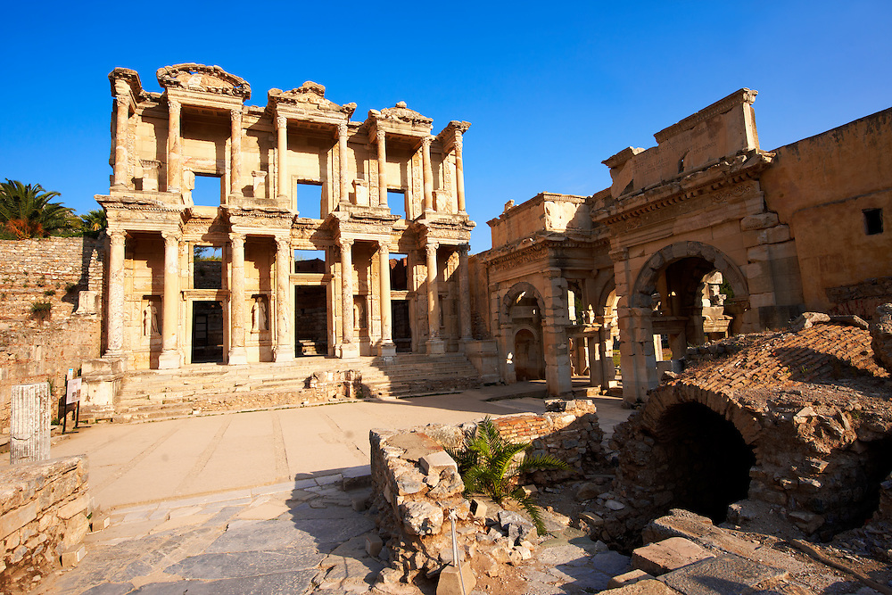 Photo of The library of Celsus. Images of the Roman ruins of Ephasus, Turkey. Stock Picture & Photo art prints 5 .<br /> <br /> If you prefer to buy from our ALAMY PHOTO LIBRARY  Collection visit : https://www.alamy.com/portfolio/paul-williams-funkystock/ephesus-celsus-library-turkey.html<br /> <br /> Visit our TURKEY PHOTO COLLECTIONS for more photos to download or buy as wall art prints https://funkystock.photoshelter.com/gallery-collection/3f-Pictures-of-Turkey-Turkey-Photos-Images-Fotos/C0000U.hJWkZxAbg
