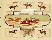 Horse racing trading cards from the ' Album of celebrated American and English running horses ' by Kinney Bros Published in New Your in 1888 By Kinney Brothers to advance the sales of their cigarette brands. The Kinney Tobacco Company was an American cigarette manufacturing firm that created the Sweet Caporal cigarette brand and promoted it with collectible trading cards. Being a leading cigarette manufacturer of the 1870-1880s, it merged in 1890 into the American Tobacco Company.